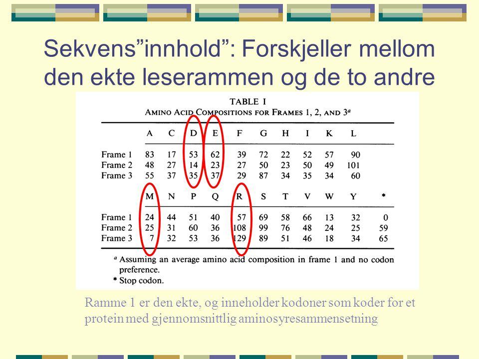 Sekvens innhold : Forskjeller mellom den ekte leserammen og de to andre