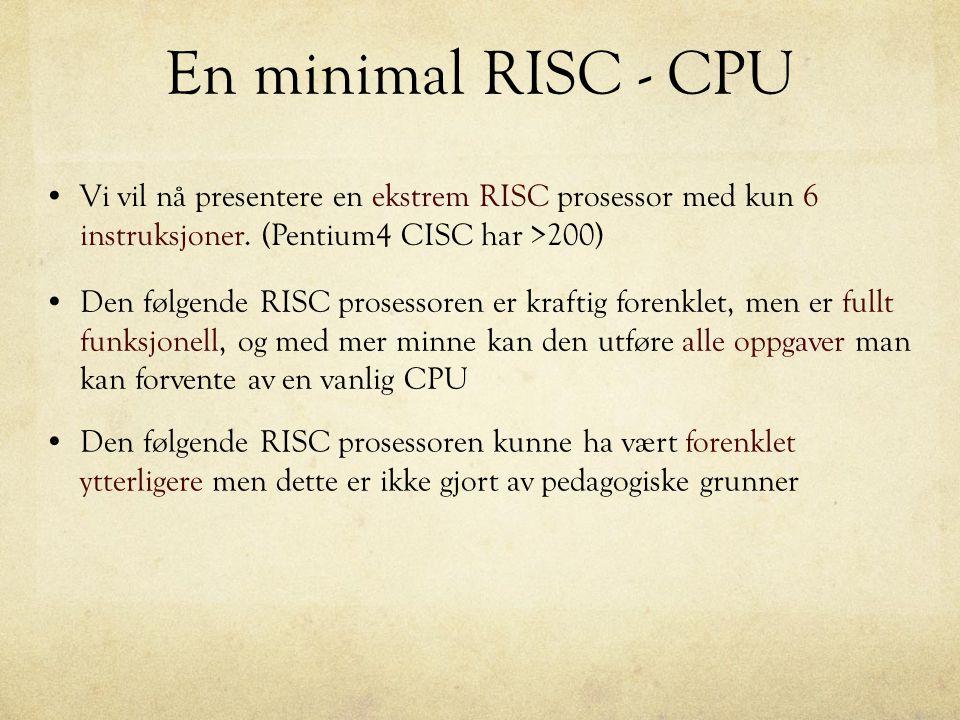 En minimal RISC - CPU Vi vil nå presentere en ekstrem RISC prosessor med kun 6 instruksjoner. (Pentium4 CISC har >200)