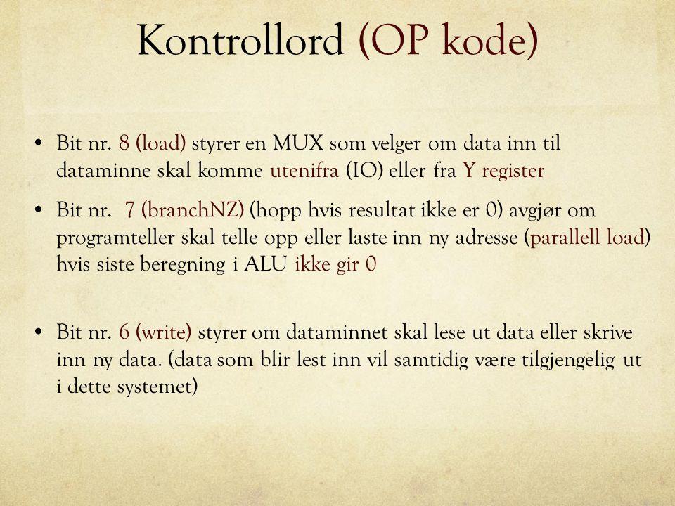 Kontrollord (OP kode) Bit nr. 8 (load) styrer en MUX som velger om data inn til dataminne skal komme utenifra (IO) eller fra Y register.