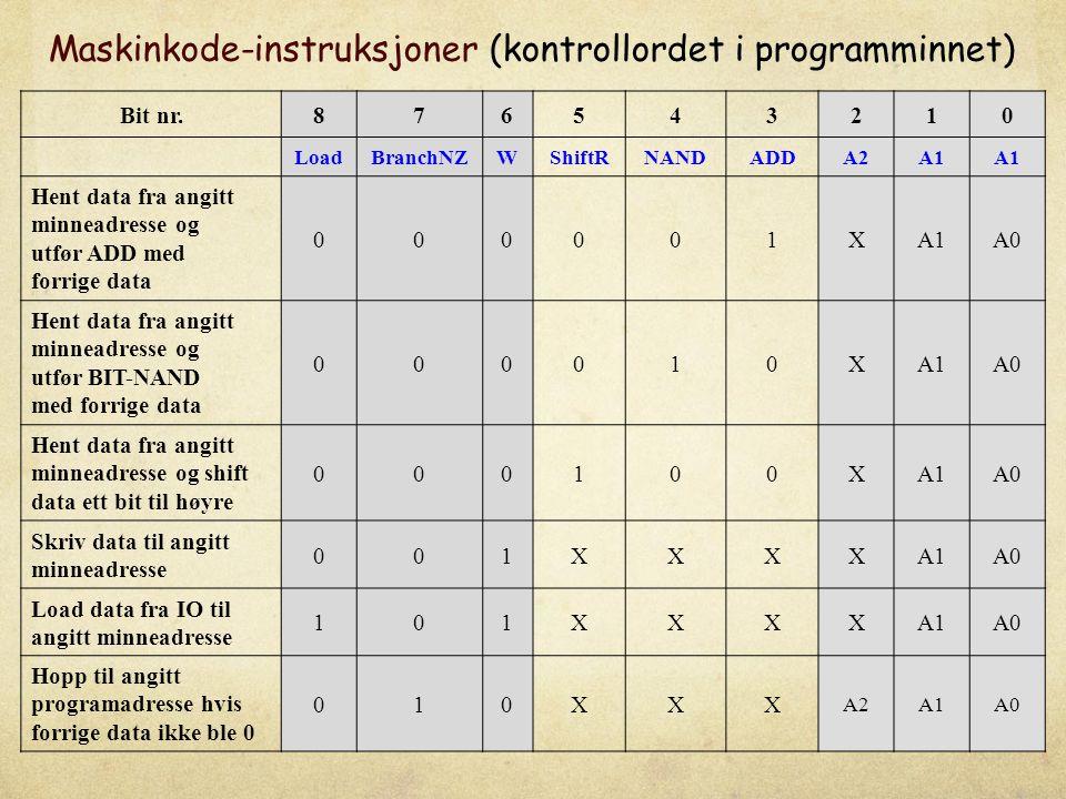 Maskinkode-instruksjoner (kontrollordet i programminnet)