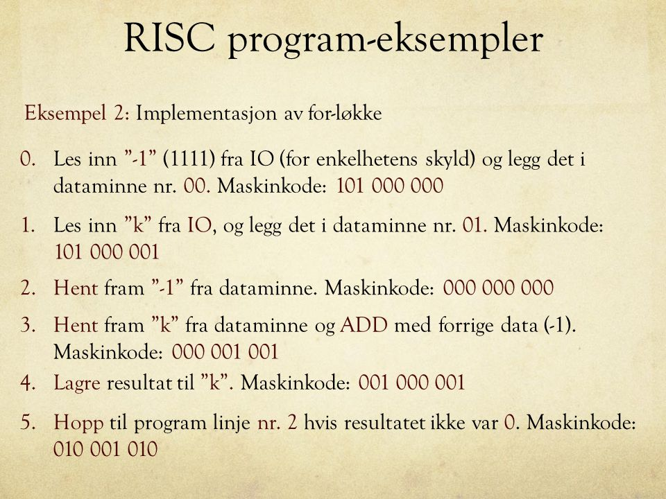 RISC program-eksempler