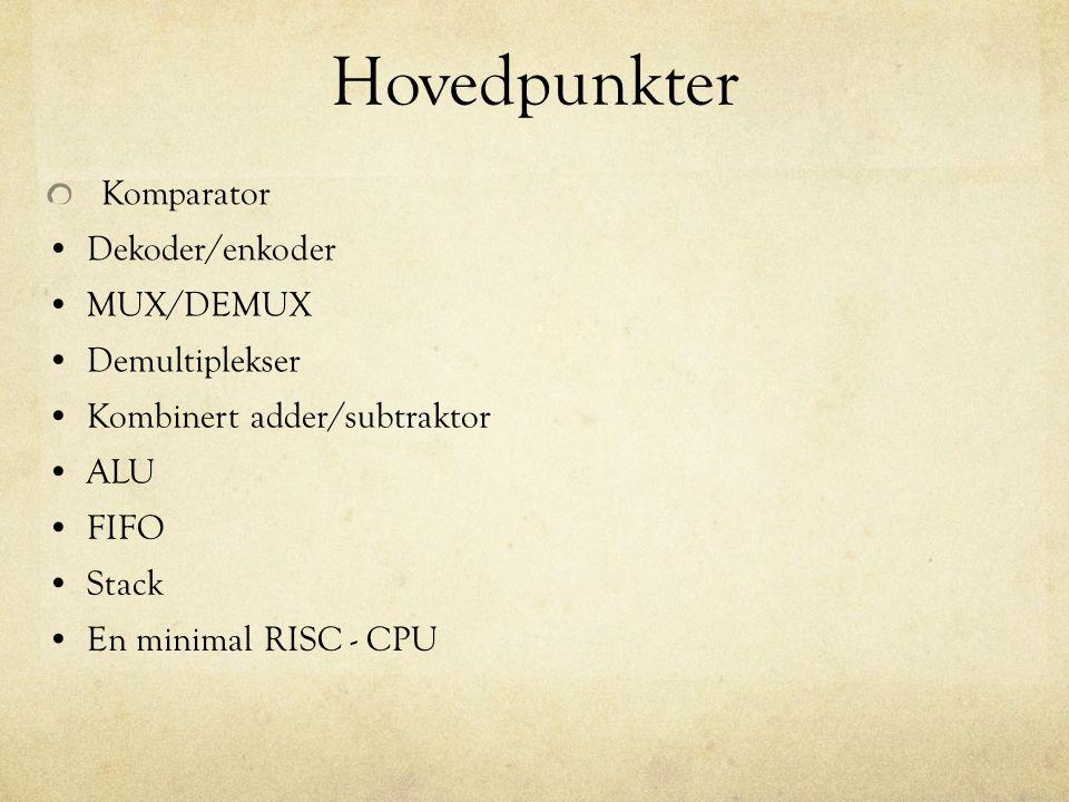 Hovedpunkter Komparator Dekoder/enkoder MUX/DEMUX Demultiplekser