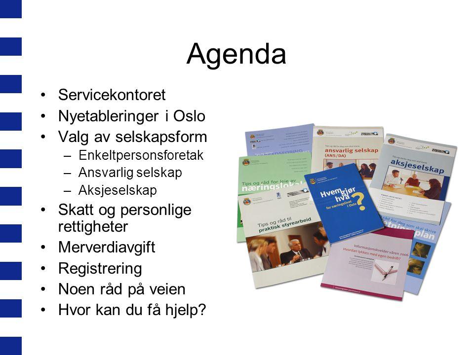 Agenda Servicekontoret Nyetableringer i Oslo Valg av selskapsform