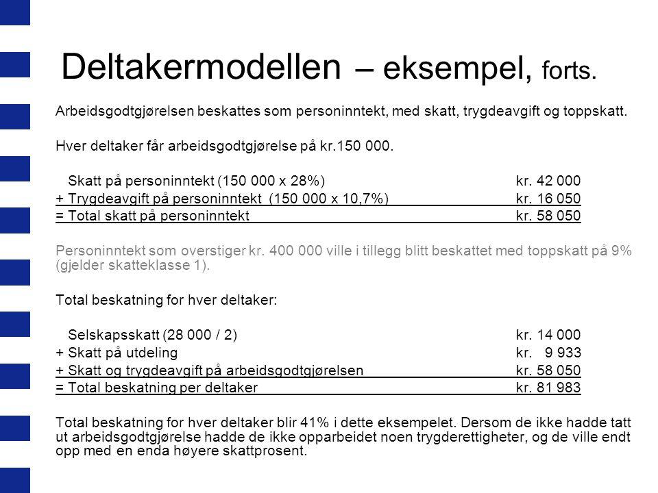 Deltakermodellen – eksempel, forts.