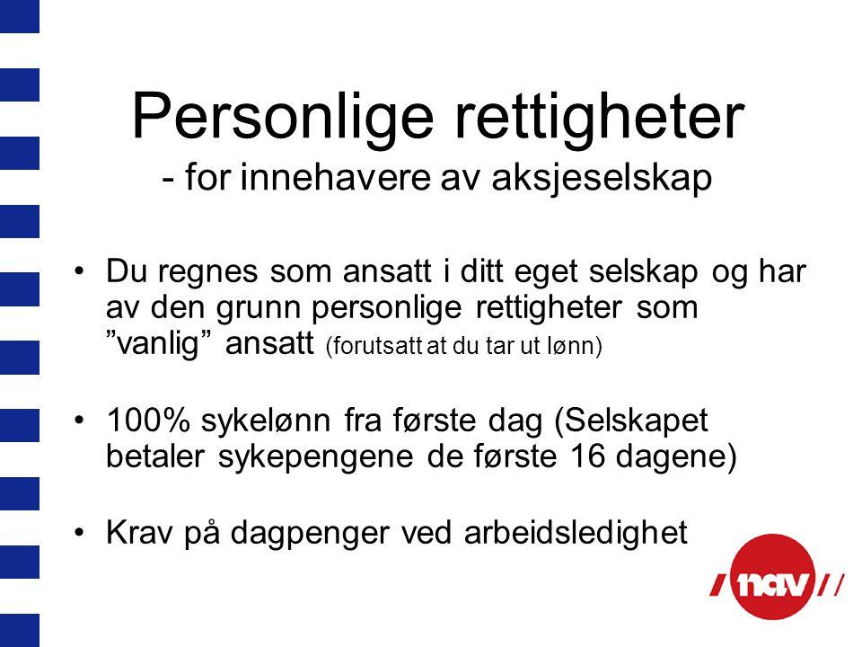 Personlige rettigheter - for innehavere av aksjeselskap
