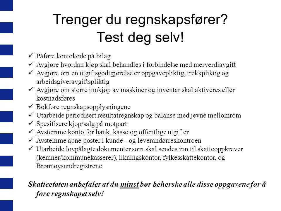 Trenger du regnskapsfører Test deg selv!