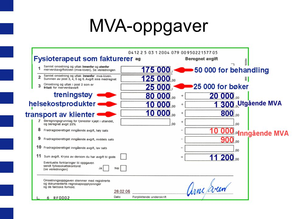 MVA-oppgaver Har krevd inn mer mva enn han har betalt. Penger til staten.