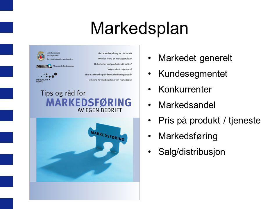Markedsplan Markedet generelt Kundesegmentet Konkurrenter Markedsandel
