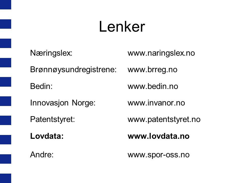 Lenker Næringslex: www.naringslex.no