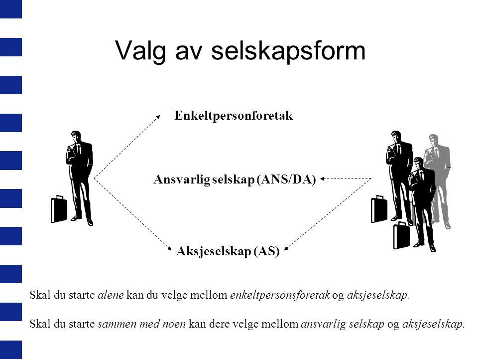 Valg av selskapsform Enkeltpersonforetak Ansvarlig selskap (ANS/DA)