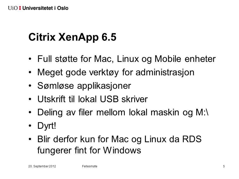 Citrix XenApp 6.5 Full støtte for Mac, Linux og Mobile enheter