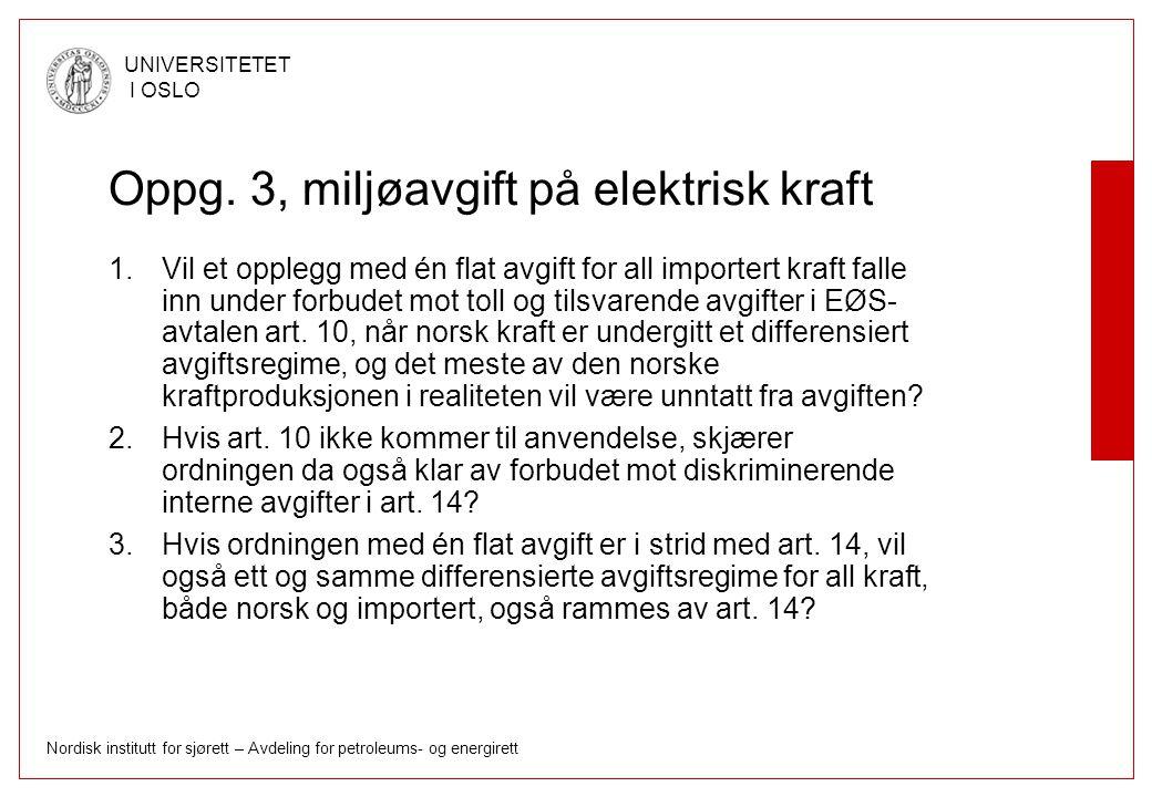 Oppg. 3, miljøavgift på elektrisk kraft