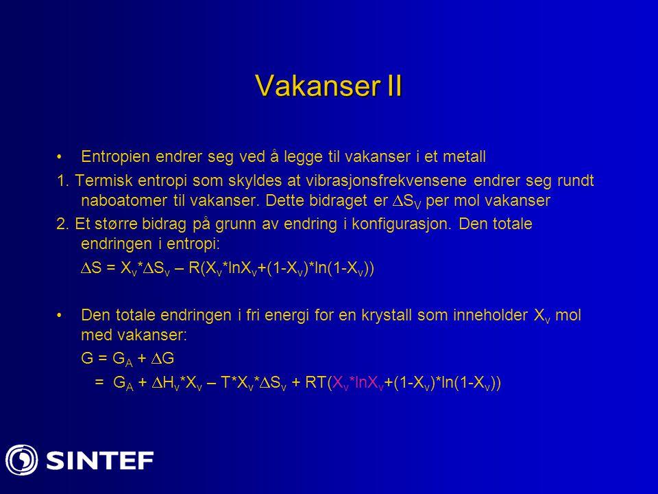 Vakanser II Entropien endrer seg ved å legge til vakanser i et metall