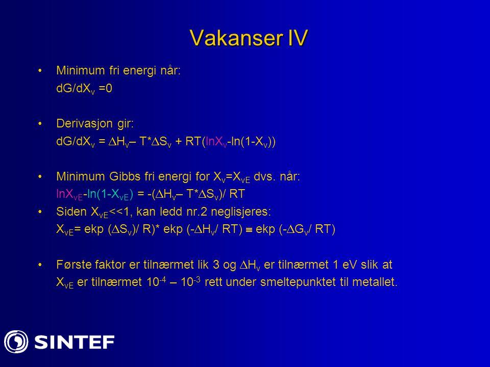 Vakanser IV Minimum fri energi når: dG/dXv =0 Derivasjon gir: