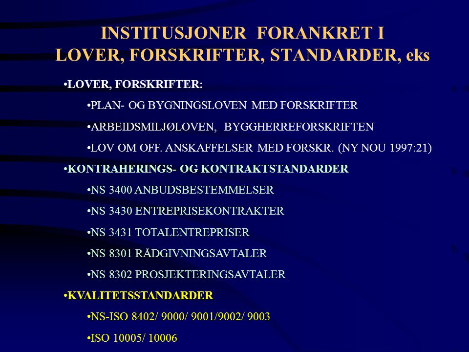 INSTITUSJONER FORANKRET I LOVER, FORSKRIFTER, STANDARDER, eks