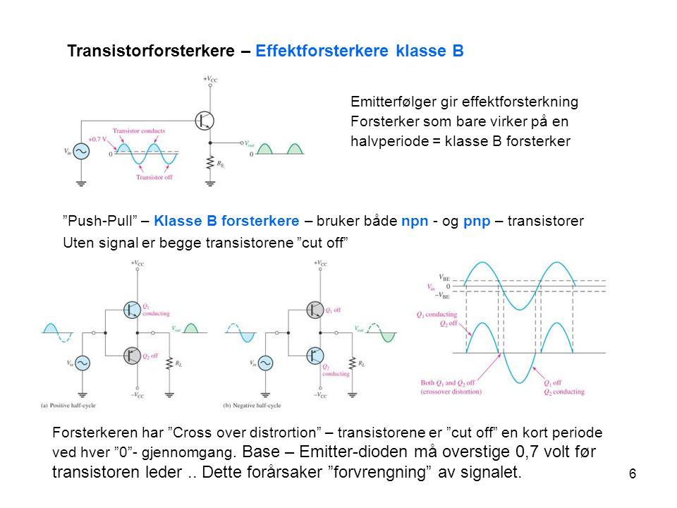 Transistorforsterkere – Effektforsterkere klasse B