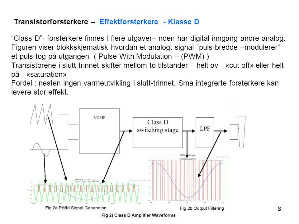 Transistorforsterkere – Effektforsterkere - Klasse D