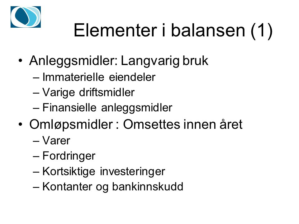Elementer i balansen (1)