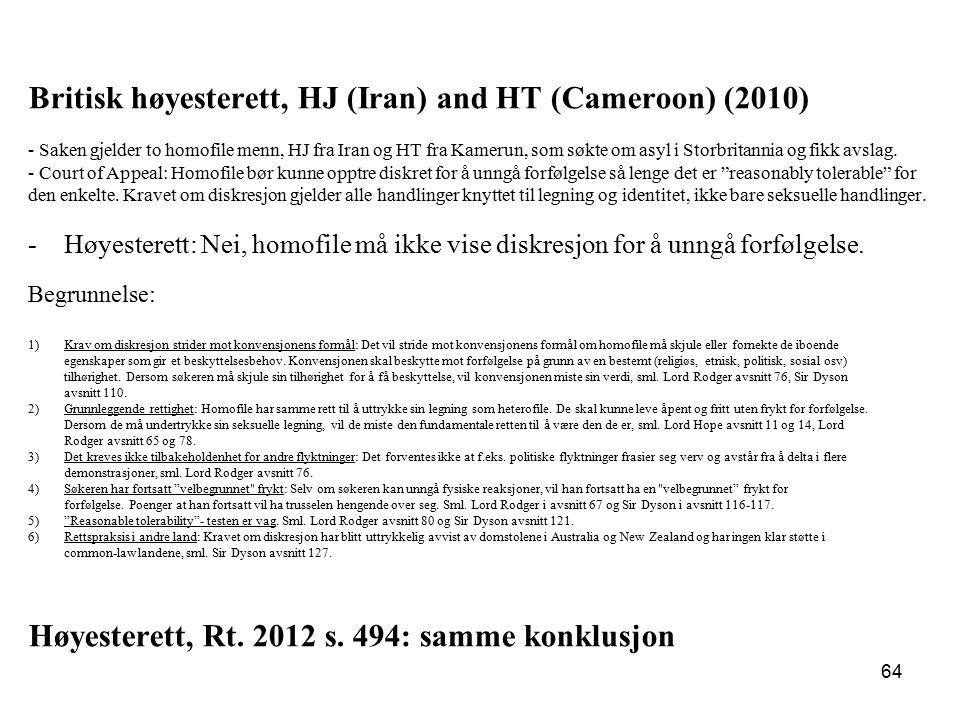 Britisk høyesterett, HJ (Iran) and HT (Cameroon) (2010)