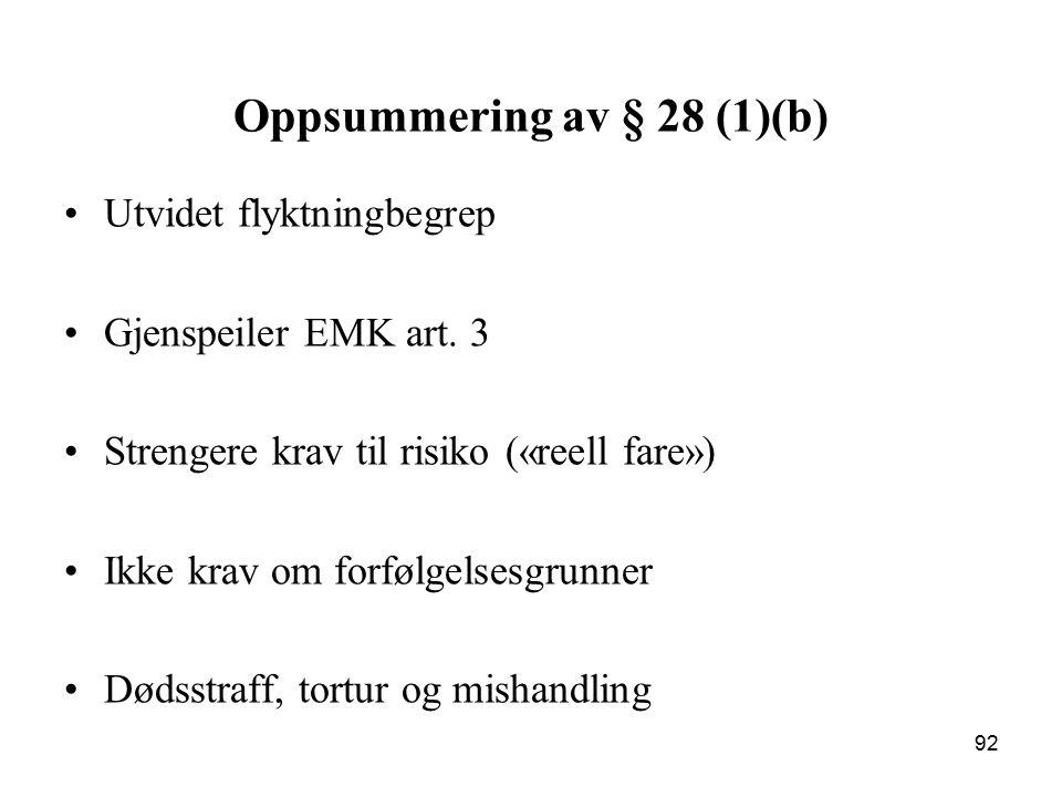 Oppsummering av § 28 (1)(b)