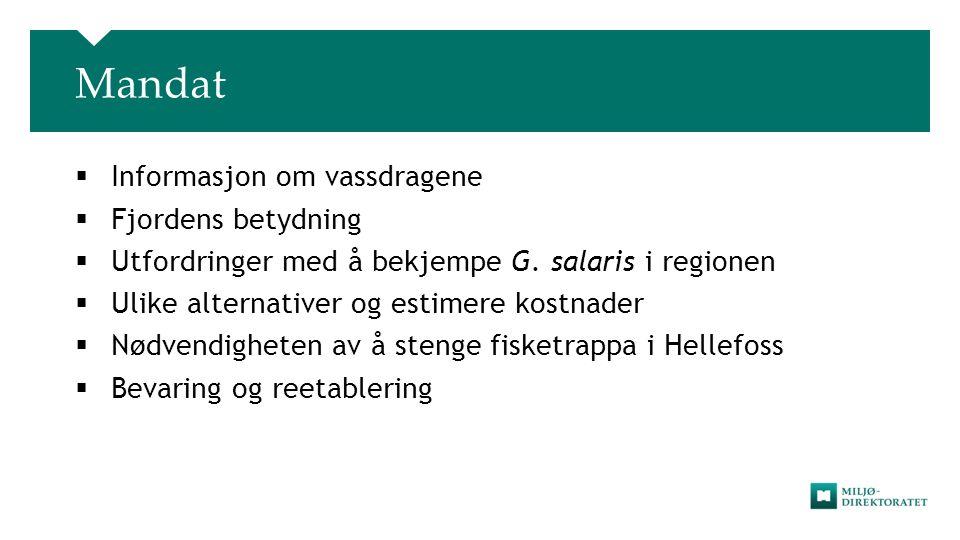 Mandat Informasjon om vassdragene Fjordens betydning