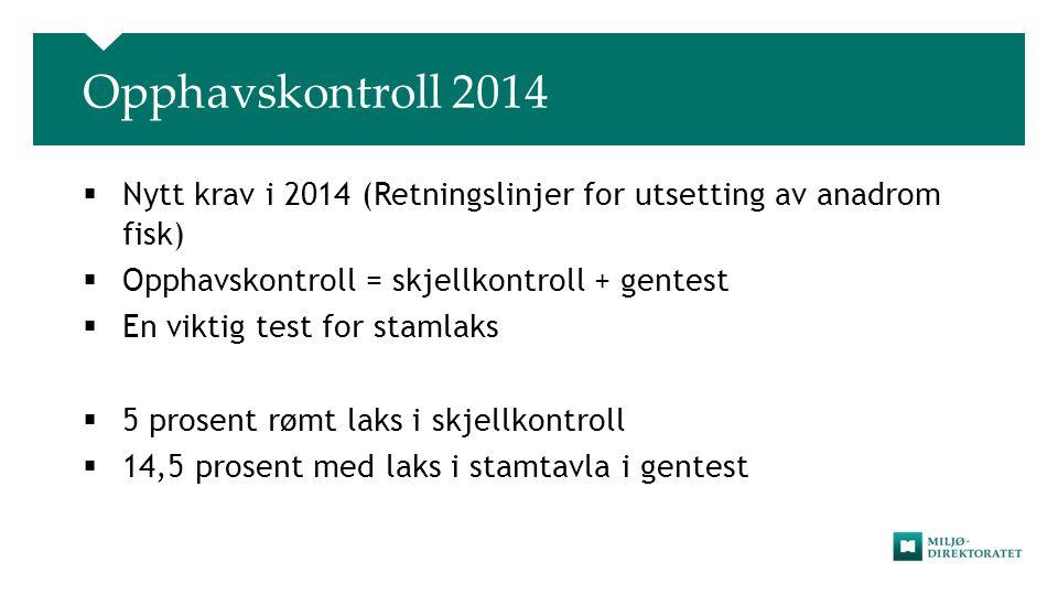 Opphavskontroll 2014 Nytt krav i 2014 (Retningslinjer for utsetting av anadrom fisk) Opphavskontroll = skjellkontroll + gentest.