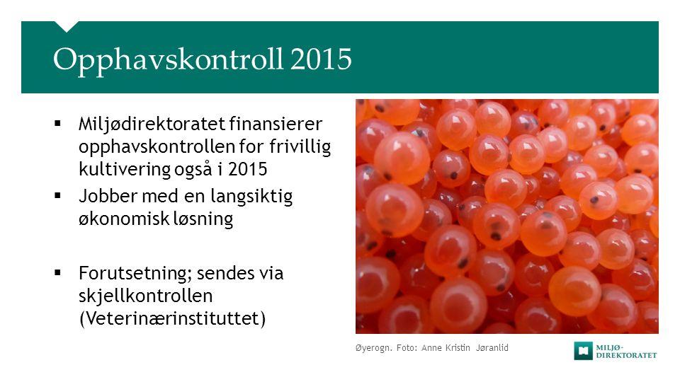 Opphavskontroll 2015 Miljødirektoratet finansierer opphavskontrollen for frivillig kultivering også i 2015.