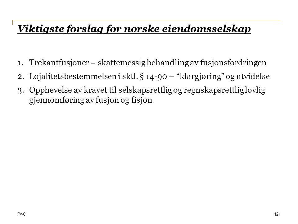 Viktigste forslag for norske eiendomsselskap