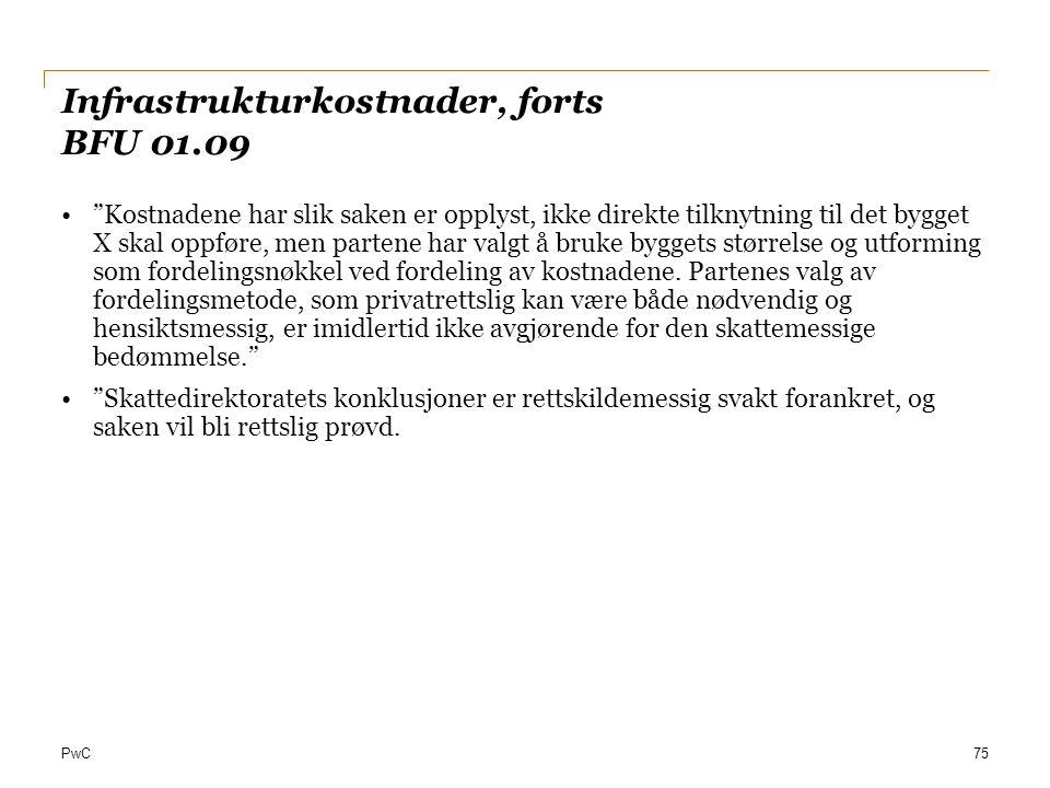 Infrastrukturkostnader, forts BFU 01.09