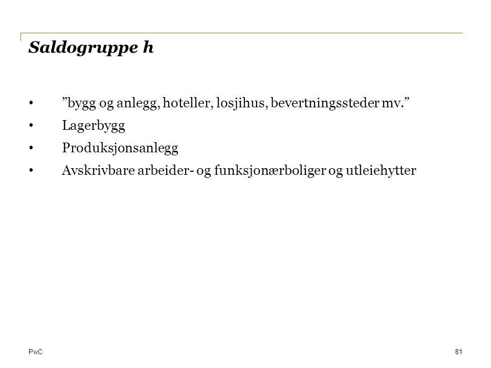 Saldogruppe h bygg og anlegg, hoteller, losjihus, bevertningssteder mv. Lagerbygg. Produksjonsanlegg.