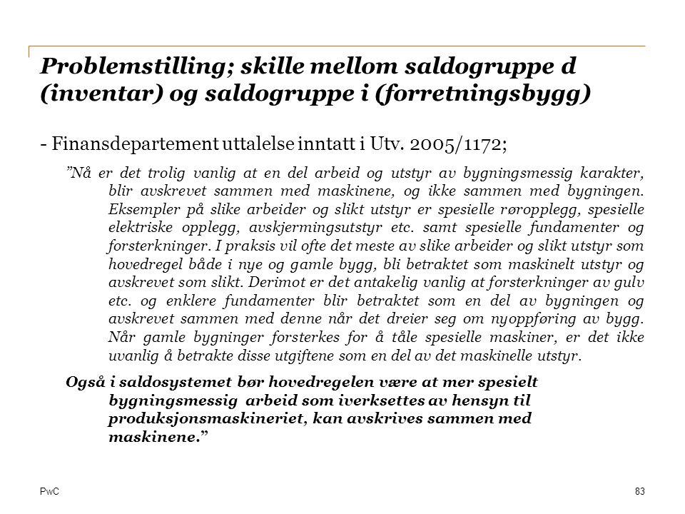 Problemstilling; skille mellom saldogruppe d (inventar) og saldogruppe i (forretningsbygg)
