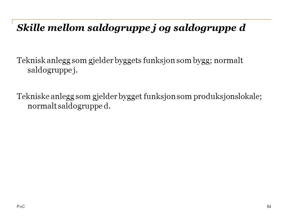 Skille mellom saldogruppe j og saldogruppe d