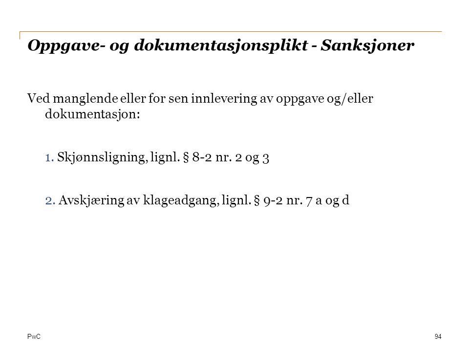 Oppgave- og dokumentasjonsplikt - Sanksjoner