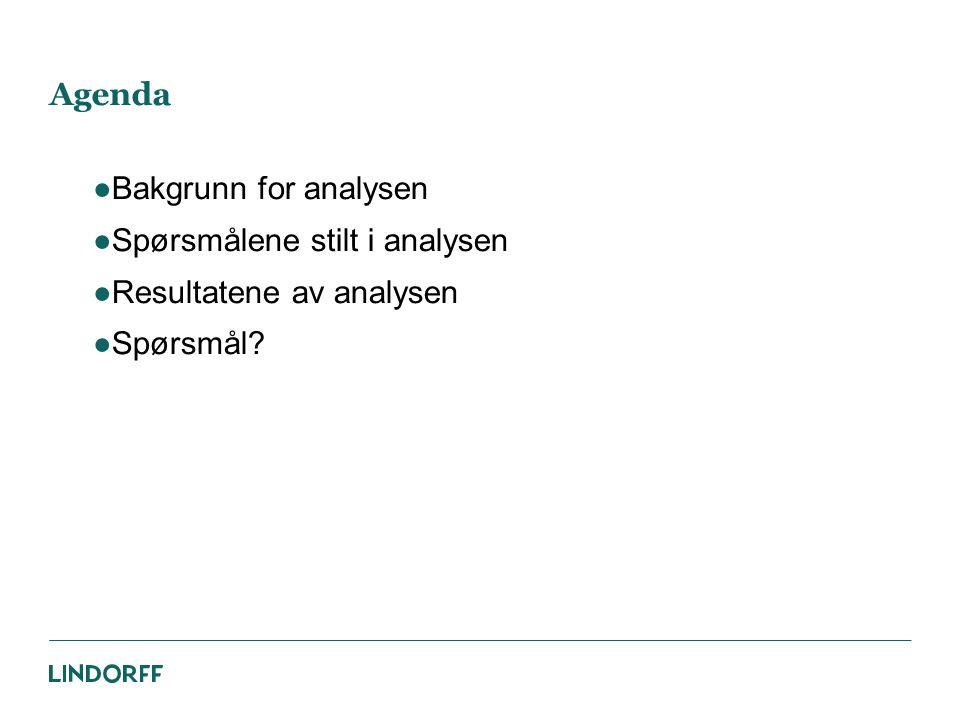 Agenda Bakgrunn for analysen Spørsmålene stilt i analysen Resultatene av analysen Spørsmål