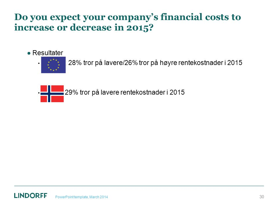 Do you expect your company's financial costs to increase or decrease in 2015