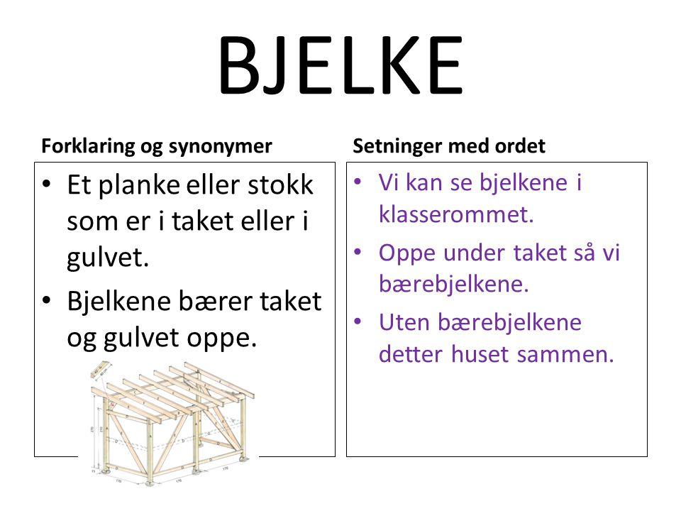 BJELKE Et planke eller stokk som er i taket eller i gulvet.