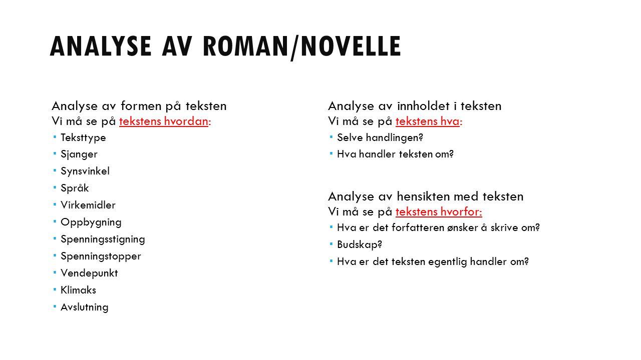 Analyse av roman/novelle