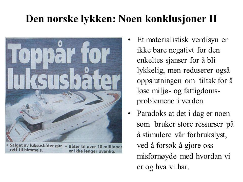 Den norske lykken: Noen konklusjoner II