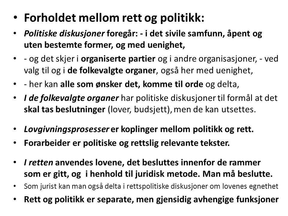 Forholdet mellom rett og politikk: