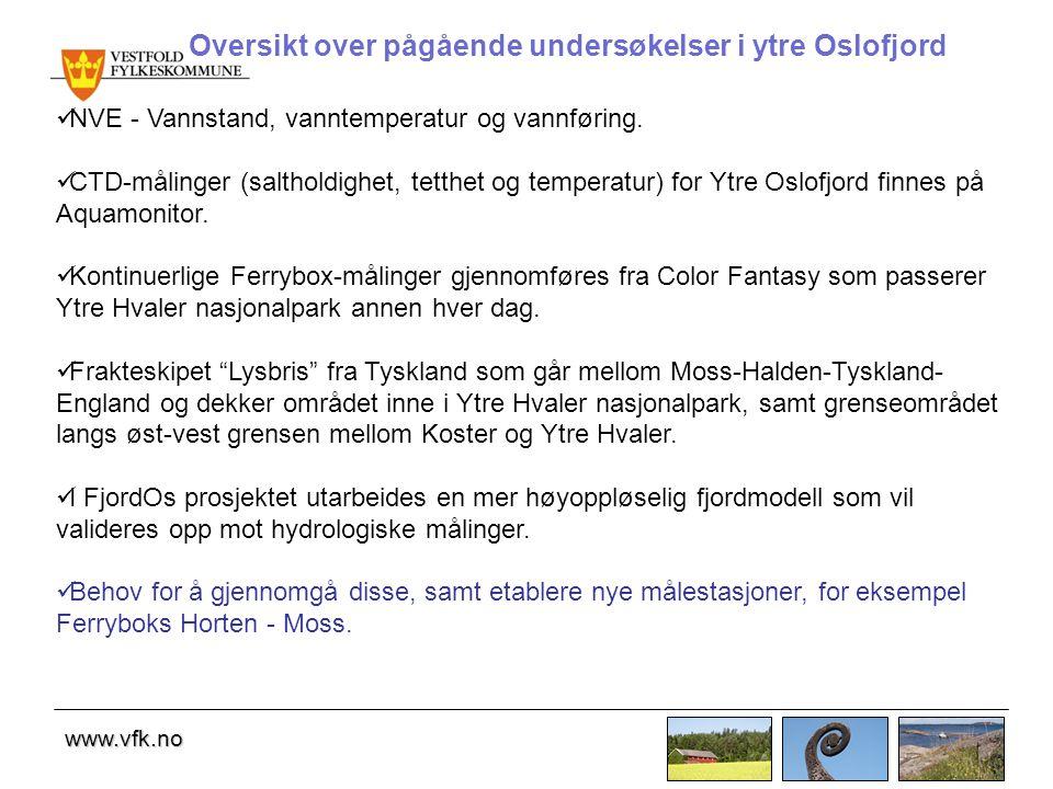 Oversikt over pågående undersøkelser i ytre Oslofjord