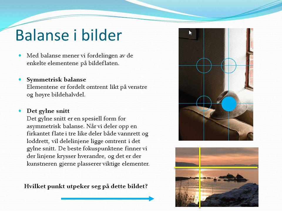 Balanse i bilder Med balanse mener vi fordelingen av de enkelte elementene på bildeflaten.