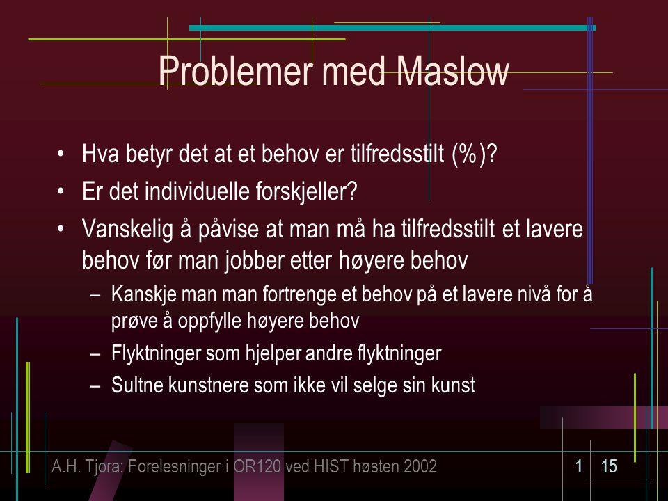 Problemer med Maslow Hva betyr det at et behov er tilfredsstilt (%)