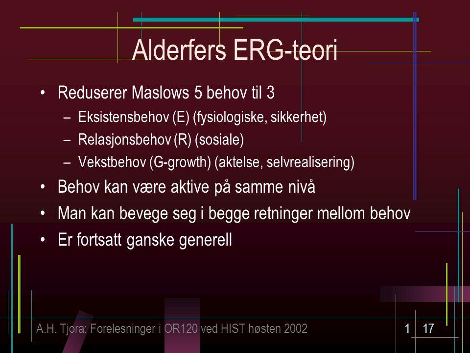 Alderfers ERG-teori Reduserer Maslows 5 behov til 3