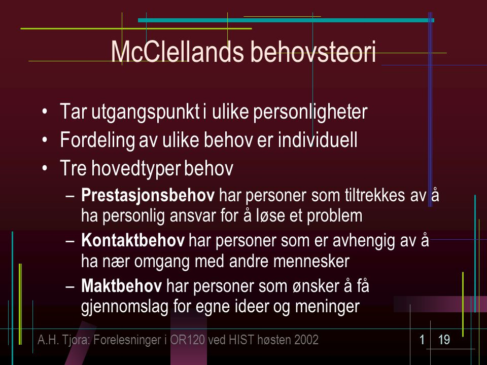 McClellands behovsteori