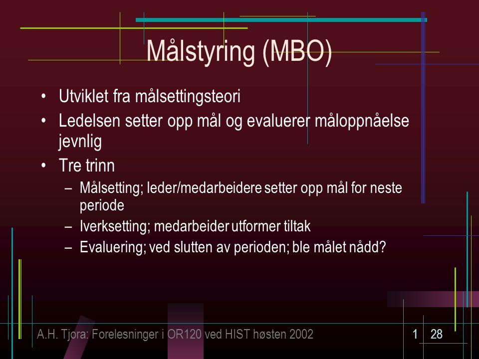Målstyring (MBO) Utviklet fra målsettingsteori