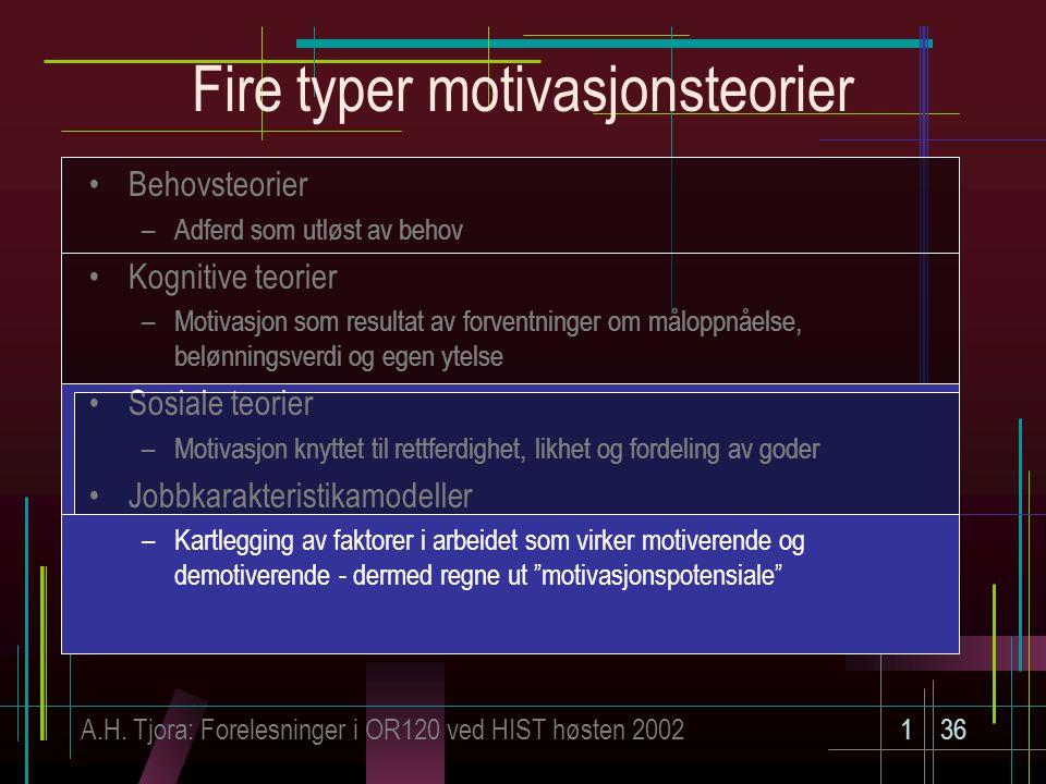 Fire typer motivasjonsteorier