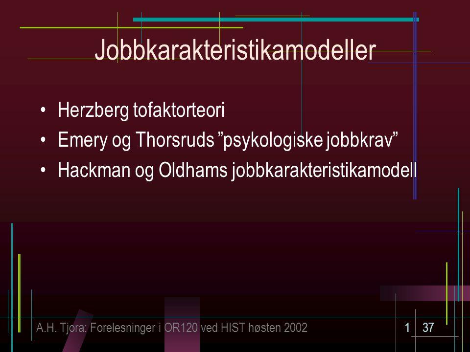 Jobbkarakteristikamodeller
