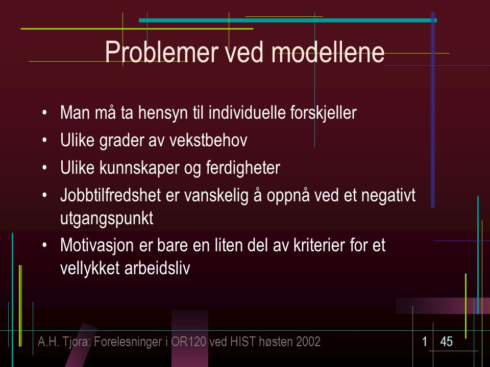 Problemer ved modellene