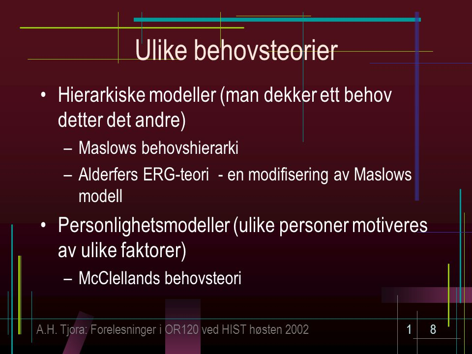 Ulike behovsteorier Hierarkiske modeller (man dekker ett behov detter det andre) Maslows behovshierarki.