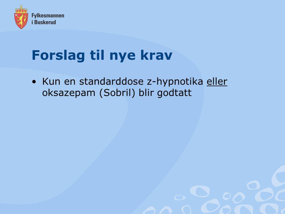 Forslag til nye krav Kun en standarddose z-hypnotika eller oksazepam (Sobril) blir godtatt